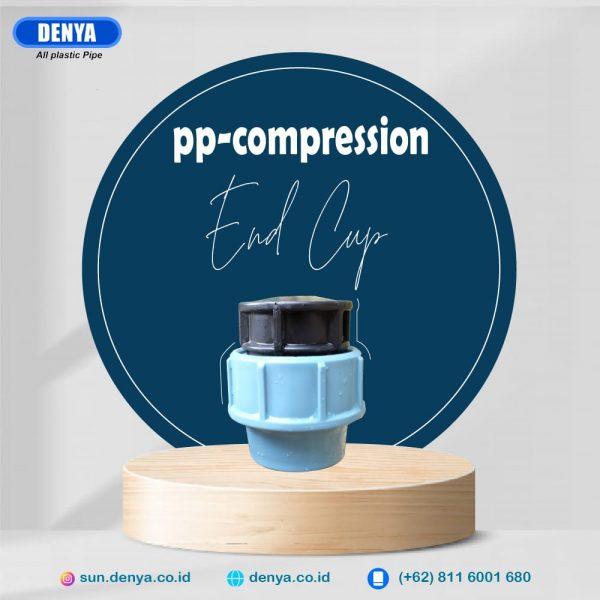 Compression End Cap adalah jenis sambungan pipa HDPE yang berfungsi untuk menutup jalur air pada ujung pipa HDPE. Pemasangan compression End Cap tidak membutuhkan mesin las HDPE dan sangat mudah untuk dipasang. Sambungan Compression End Cap ini dapat menahan tekanan air hingga 16 bar